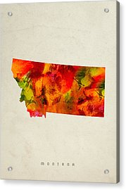Montana State Map 04 Acrylic Print by Aged Pixel