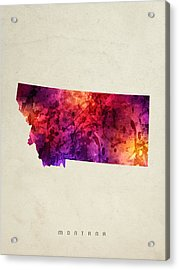 Montana State Map 05 Acrylic Print by Aged Pixel