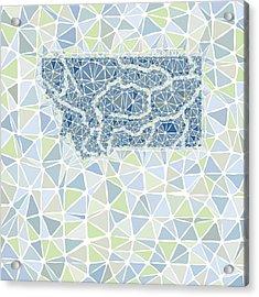 Montana State Map Geometric Abstract Pattern Acrylic Print by Hieu Tran