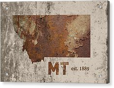 Montana State Map Industrial Rusted Metal On Cement Wall With Founding Date Series 041 Acrylic Print by Design Turnpike