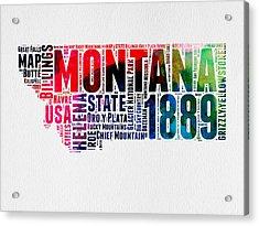 Montana Watercolor Word Cloud  Acrylic Print by Naxart Studio