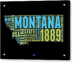 Montana Word Cloud 1 Acrylic Print by Naxart Studio