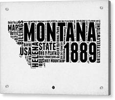 Montana Word Cloud 2 Acrylic Print by Naxart Studio