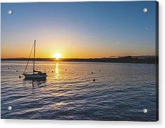 Monterey Bay Sailboat At Sunrise Acrylic Print