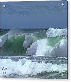 Acrylic Print featuring the digital art Monterey Surf by Walter Chamberlain