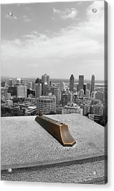 Montreal Cityscape Bw With Color Acrylic Print