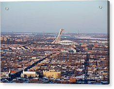 Montreal Cityscape With Olympic Stadium Acrylic Print