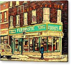 Montreal Cityscenes By Streetscene Artist Carole Spandau Acrylic Print by Carole Spandau