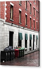 Montreal Garbage Cans Acrylic Print by John Rizzuto