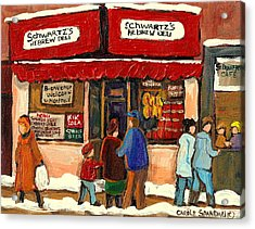 Montreal Hebrew Delicatessen Schwartzs By Montreal Streetscene Artist Carole Spandau Acrylic Print by Carole Spandau