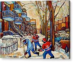 Montreal Hockey Game With 3 Boys Acrylic Print by Carole Spandau