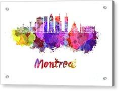Montreal Skyline In Watercolor Splatters Acrylic Print by Pablo Romero