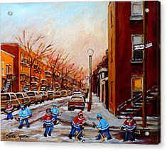 Montreal Street Hockey Game Acrylic Print by Carole Spandau