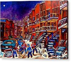 Montreal Street Scene Paintings Hockey On De Bullion Street   Acrylic Print by Carole Spandau