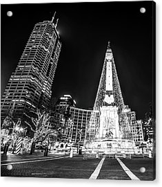 Acrylic Print featuring the photograph Monument Circle At Christmas - Black And White by Gregory Ballos