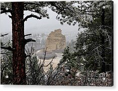 Monument Rock In The Snow Acrylic Print
