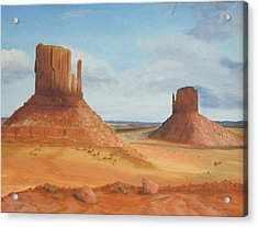 Monument Valley    The Mittens Acrylic Print by Philip Hall