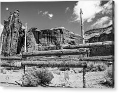 Fence In Monument Valley - Bw Acrylic Print