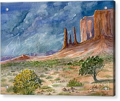 Monument Valley Raging Storm Acrylic Print by Marilyn Smith