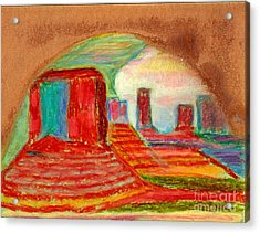 Acrylic Print featuring the painting Monument Valley Unafraid Of The Storm by Richard W Linford