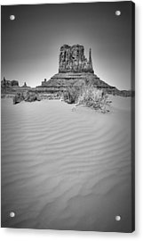 Monument Valley West Mitten Butte Black And White Acrylic Print by Melanie Viola