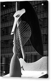 Monumental Sculpture In Front Of A Building, Chicago Picasso, Daley Plaza, Chicago, Illinois, Usa Acrylic Print by Panoramic Images