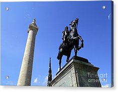 Monuments To George Washington And The Marquis De Lafayette Baltimore Acrylic Print