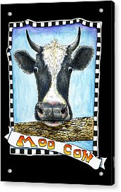 Acrylic Print featuring the drawing Moo Cow In Black by Retta Stephenson