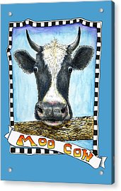 Acrylic Print featuring the drawing Moo Cow In Blue by Retta Stephenson