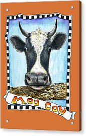 Acrylic Print featuring the painting Moo Cow In Orange by Retta Stephenson