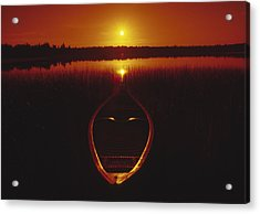 Moody Sunrise Lake Scene With Cedar Canoe Acrylic Print