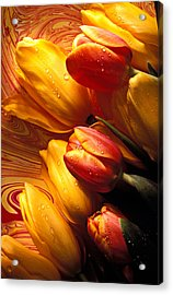 Moody Tulips Acrylic Print by Garry Gay