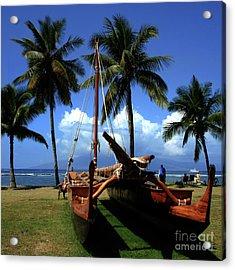 Moolele Canoe At Hui O Waa Kaulua Lahaina Acrylic Print by Sharon Mau