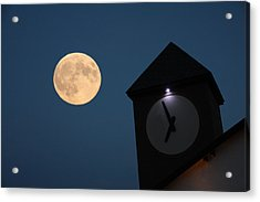 Moon And Clock Tower Acrylic Print