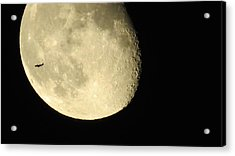 Moon And Plane Over Sanibel Acrylic Print