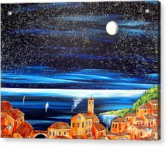 Moon And Stars Over The Village  Acrylic Print by Roberto Gagliardi