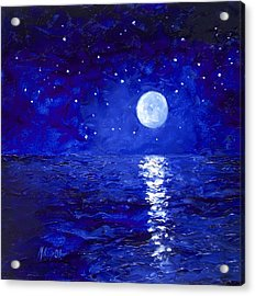 Moon And Stars Painting Acrylic Print by Jan Matson