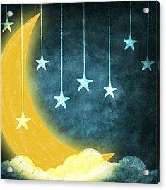 Moon And Stars Acrylic Print by Setsiri Silapasuwanchai