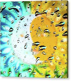 Moon And Sun Rainy Day Windowpane Acrylic Print