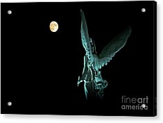Acrylic Print featuring the photograph Super Moon And Winged Goddess Of Victory by Charline Xia