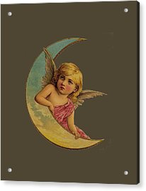 Moon Angel T Shirt Design Acrylic Print by Bellesouth Studio