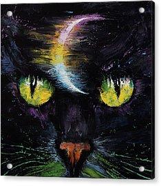 Moon Cat Acrylic Print by Michael Creese
