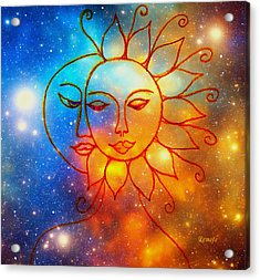 Moon Do You Love Me Asks The Sun... Acrylic Print