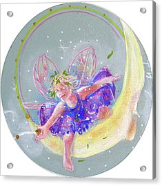 Acrylic Print featuring the painting Moon Fairy by Gertrude Palmer