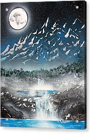 Acrylic Print featuring the painting Moon Falls by Greg Moores