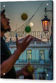 Moon Juggler Acrylic Print by Cory Dewald