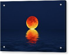 Moon Kissing The Sea Acrylic Print