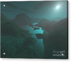 Moon Light At The Mountains Acrylic Print by Gaspar Avila