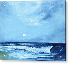 Moon Light Night Wave Acrylic Print by Lloyd Dobson