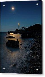 Acrylic Print featuring the photograph Moon Light Over The Lighthouse  by Emmanuel Panagiotakis